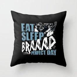Perfect Day Eat Sleep Braap Snowmobile Gift Idea Throw Pillow