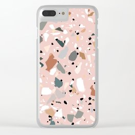 pale pink terrazzo with neutral flecks Clear iPhone Case
