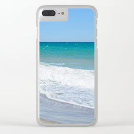Sandy beach and Mediterranean sea Clear iPhone Case