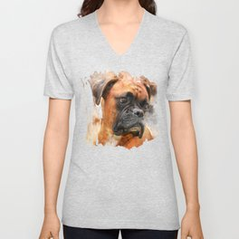 Boxer Dog Thinking Unisex V-Neck