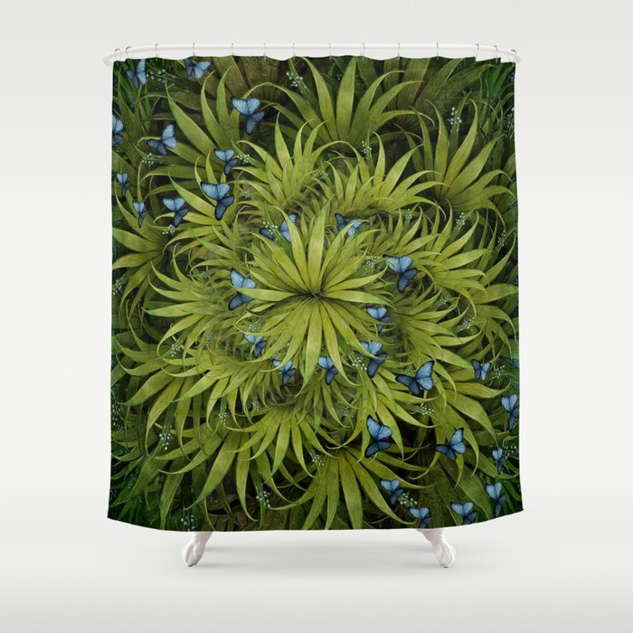 El Bosco Fantasy Tropical Island Blue Butterflies Shower Curtain By Marcanton