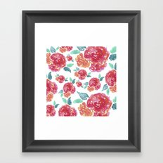 Pastel Spring Flowers Watercolor Framed Art Print