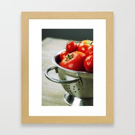 fresh tomatoes (in metal colander) and herbs on a wooden table Framed Art Print