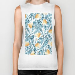 Hand painted blue yellow watercolor bohemian feathers hearts Biker Tank