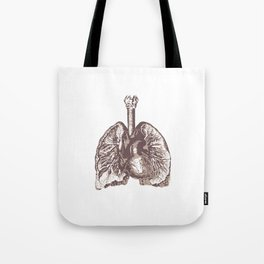 Fill Your Lungs. Vintage Sepia Print Illustration Tote Bag