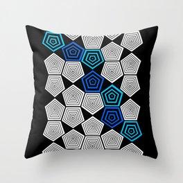Colour Pop Pentagons - Turquoise Throw Pillow