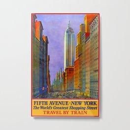 Fifth Avenue New York Travel Poster Metal Print