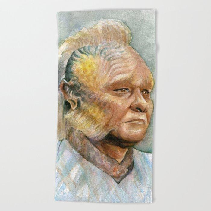 Neelix Watercolor Portrait Voyager Talaxian Geek Sci-fi Art Beach Towel
