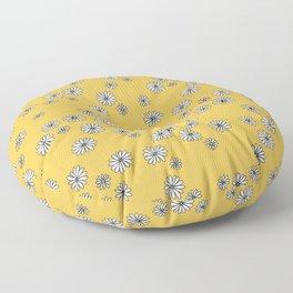 Romantic daisy garden sweet girls baby nursery pattern ochre yellow Floor Pillow