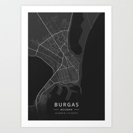 Burgas, Bulgaria - Dark Map Art Print
