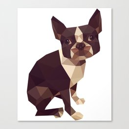 Low Polygon Boston Terrier Canvas Print