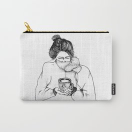 Coffee, Line Art Print, Girl Wall Art, Let's Stay Home Wall Decor, Cozy Day In Wall Art Carry-All Pouch