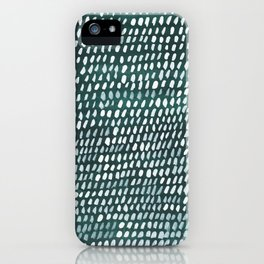 White and Teal Dots Pattern iPhone Case