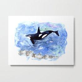 Loose Orca watercolor painting Metal Print