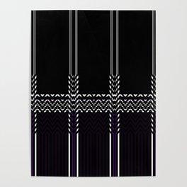 Black White abstract chevron stripes Poster