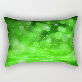 Whimsical Green Glowing Christmas Sparkles Bokeh Festive Holiday Art Rectangular Pillow
