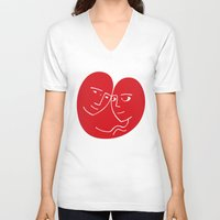 lovers V-neck T-shirts featuring Lovers by David Alegria
