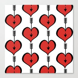 Loving You red hearts Canvas Print