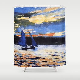 Winslow Homer's Gloucester Sunset nautical maritime landscape painting with sailboat - sailing Shower Curtain