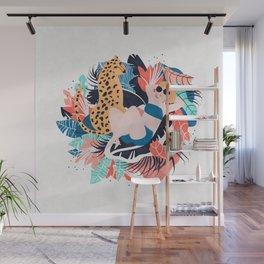 Yellow Hair Tropical Girl with Cheetah Wall Mural
