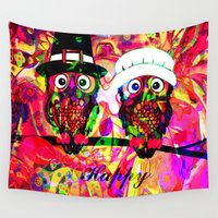 rave Wall Tapestries featuring Owl make the rave-up by shiva camille