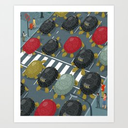 Tortoise traffic Art Print