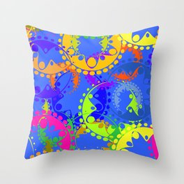 Texture of bright colorful gears and laurel wreaths in kaleidoscope style on a blue background. Throw Pillow