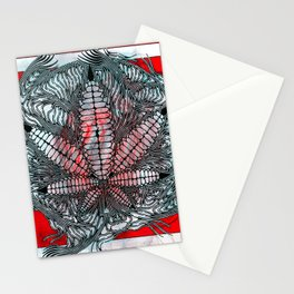 Red Cannabis Teeth Stationery Cards
