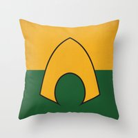 dc comics Throw Pillows featuring Aquaman Logo Minimalist Art Print DC Comics by The Retro Inc