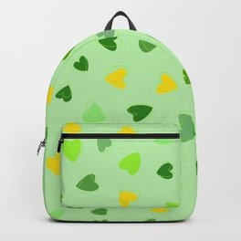 Love, Romance, Hearts - Yellow Green Backpack