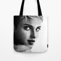 emma watson Tote Bags featuring EMMA by Laura Catrinella
