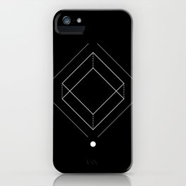Inverted square geometry black iPhone Case