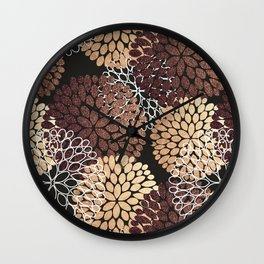 Copper Dahlia Floral Pattern Wall Clock