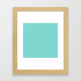 Aqua Blue Simple Solid Color All Over Print Framed Art Print