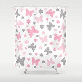 Pink and Grey Butterflies and Flowers Shower Curtain