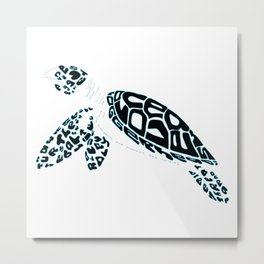 Calligram Sea Turtle Metal Print