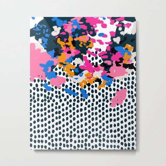 Kenzi - Flowers with Dots - Floral Abstract, graphic design print pattern Metal Print