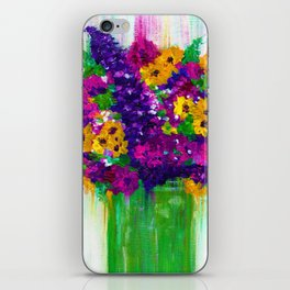 Colorful painted bouquet of flowers iPhone Skin