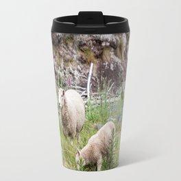 Sheep Family in Flea Bay, Akaroa, New Zealand Travel Mug