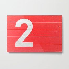 TWO on red Metal Print
