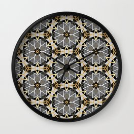 Gray and Gold Abstract Geometric Part VI. Wall Clock