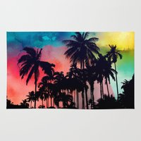 palm tree Area & Throw Rugs featuring palm tree by mark ashkenazi