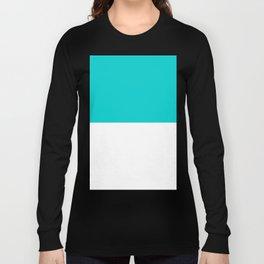 White and Cyan Horizontal Halves Long Sleeve T-shirt