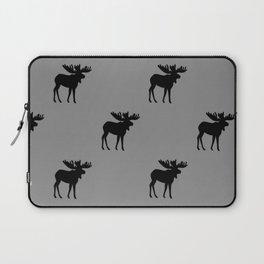 Bull Moose Silhouette - Black on Gray Laptop Sleeve