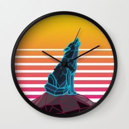 Geometric neon retro synthwave wolf Wall Clock