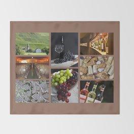 Home Bar Decor - Wine Vineyard Collage Throw Blanket