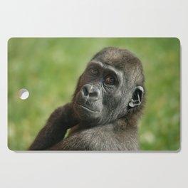 Gorilla Shufai Looking Over His Shoulder Cutting Board