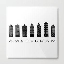 Amsterdam Print Architecture House Holland Art City Print City Skyline Travel Nordic Home Wall Decor Metal Print