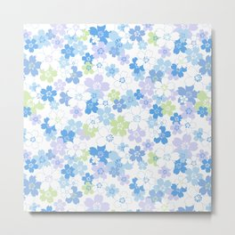 cherry blossom - blue Metal Print