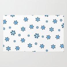 Snowflakes (Blue & Black on White) Rug
